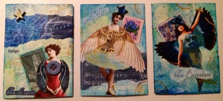 """Bleu"" series of winged artist trading cards by Paula Boyd Farrington"