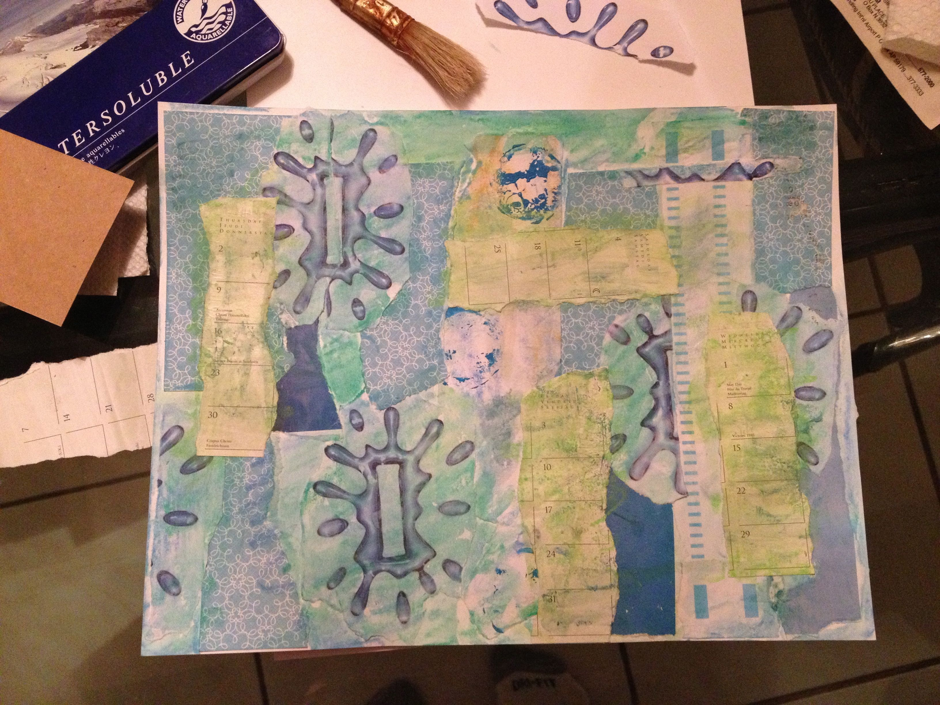 "beginning of making ""Masterboard"" to be cut into artist trading card size background pieces"