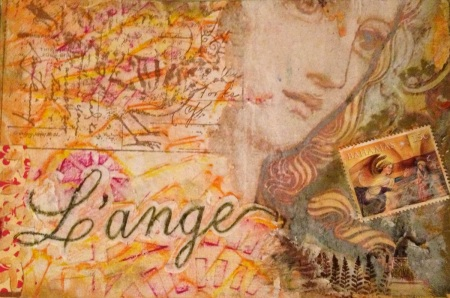 L'ange (angel) mixed media collage ©2013 by paula boyd farrington