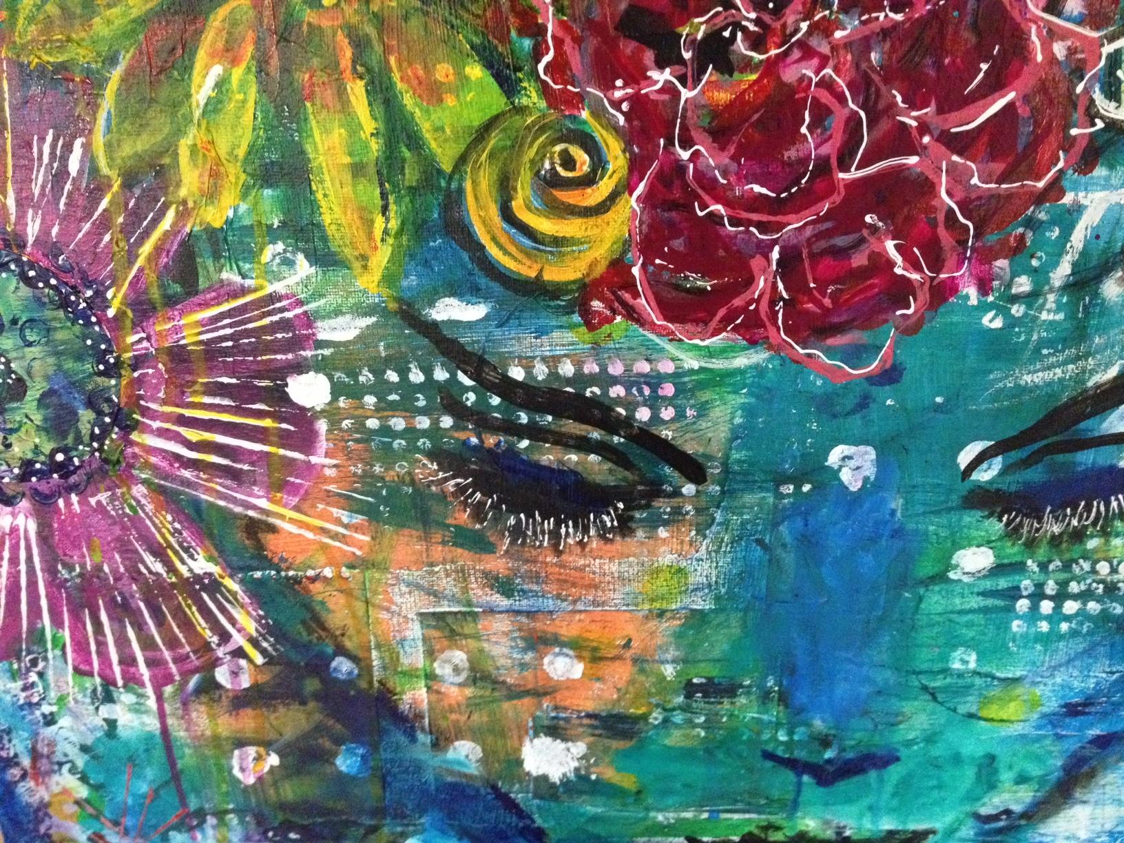 In Flowers, mixed media (paper on acrylic on canvas), work-in-progress © paula boyd farrington 2014