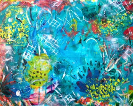 Undersea Soirée, acrylic on canvas © paula boyd farrington 2014